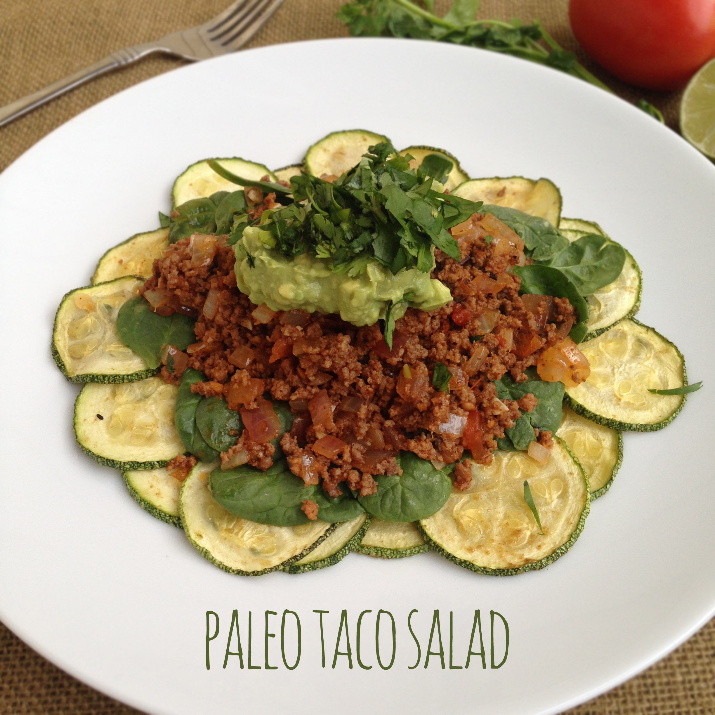 Paleo Taco Salad with Zucchini Chips